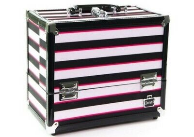 Caboodles Makeup Case 6 Tray Train Case, Black/White Striped