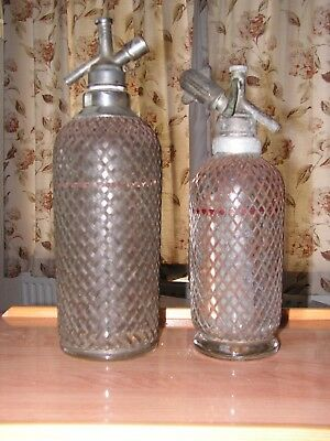 Pair of Vintage 1930's Glass Wire Mesh Soda Syphon - Art Deco - will split
