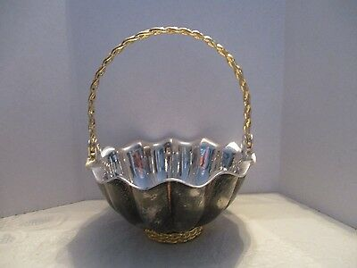 Internat'l Silver Silverplate Heavy Rnd.Scallop Gold Rope Trim Handled Basket