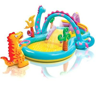 Kids Pool Slide Play Centre Inflatable Swimming Pool Intex Water Fun Dinoland