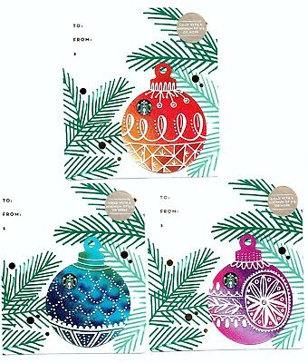 2017 Starbucks Gift Card - Holiday Series - Christmas Ornament Die-Cut Set of 3