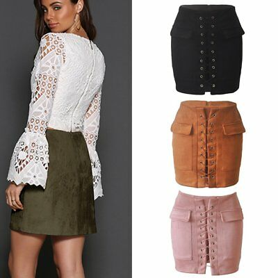Women Lace-up Leather Suede Pencil Skirt Cross High Waist Bodycon Short Skirts T