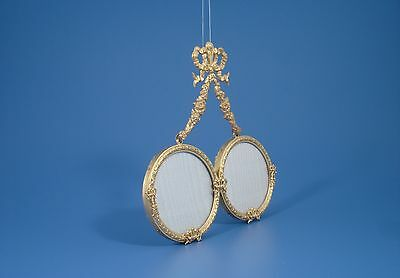 Antique French Double Round Hanging Bronze Picture Frame