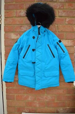 Boys Blue Winter Coat Next With Fur - 7 yrs. Brand New With Tags