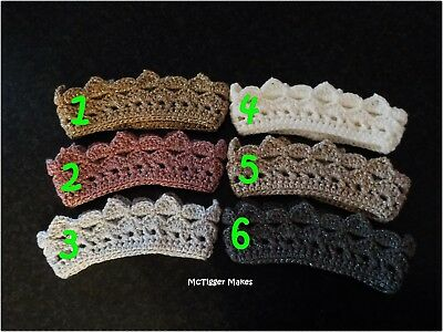New Crochet Sparkly Crown/Tiara/Headband - Various Colours, Sizes! Photo Prop