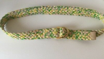 LILLY PULITZER D-Ring Braided Belt Island Green Pink Preppy Sz S