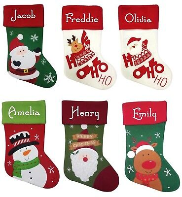 Personalised Christmas Stocking Santa Reindeer Deluxe 5 Designs ADD ANY NAME
