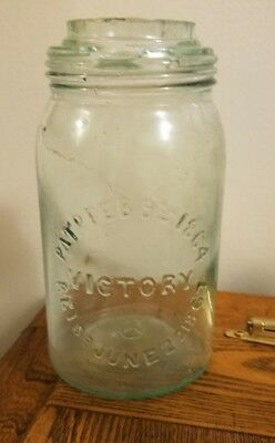Rare VICTORY FRUIT JAR PATENTED 1864 & 1867 NO LID 1880'S Era