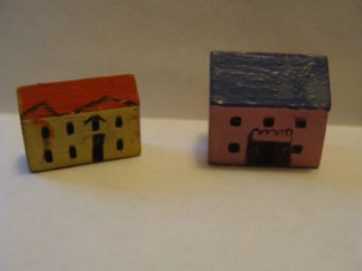 2 Tiny Vintage Wooden Putz Houses made in Germany
