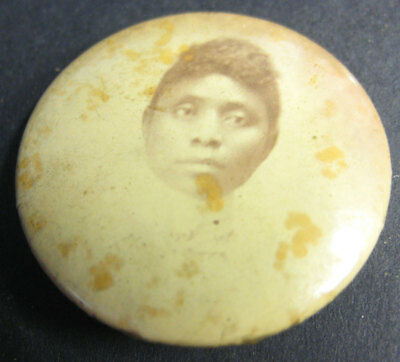 African American Woman Photo Pin Back Antique