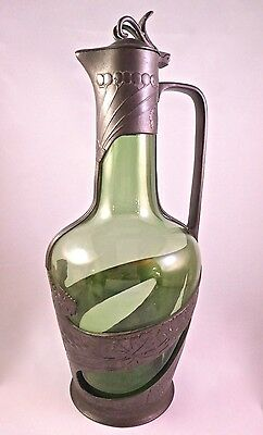 Jugendstil Art Nouveau Pewter Mounted Emerald Art Glass Claret Wine Jug/Decanter