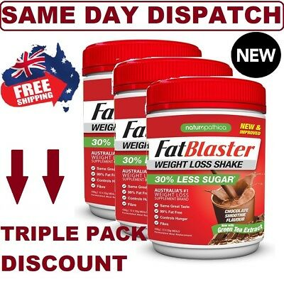 Fat Blaster Weight Loss Shake Chocolate Smoothie 430g TRIPLE PACK NEW IMPROVED!