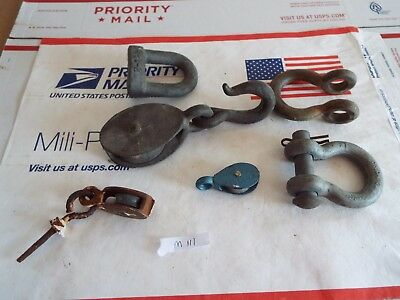 Vintage junk drawer lot, mixed hardware lot, pulleys, pin shackles, misc