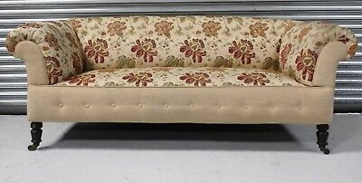 LARGE 7' LONG VICTORIAN ANTIQUE CHESTERFIELD SOFA SETTEE c1890.