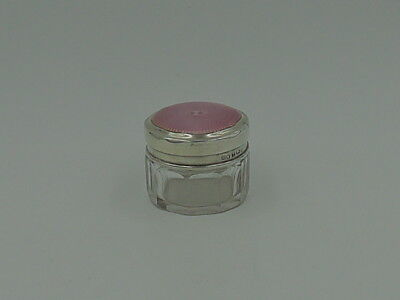 Beautiful English Sterling Silver & Pink Guilloche Enamel Lid & Glass Vanity Jar