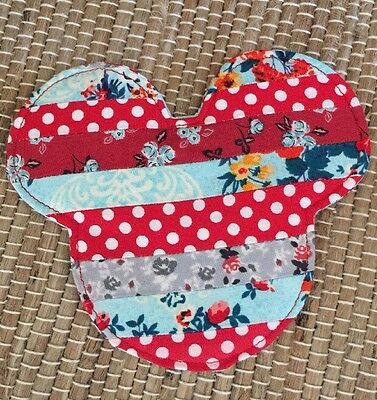 Mickey Mouse Ears Disney Coaster Reversible Absorbent Fabric New