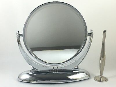 Vintage Chrome Art Deco Vanity Mirror & Flower Bud Vase
