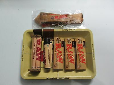 Raw Bundle 7 Piece 1 1/4 Classic Rolling Papers+Roller+Lighter+Laynard+Tray
