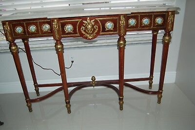 Antique 19C French Louis Xv Ormolu,medallions Marble Top Console/sofa Table