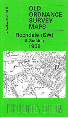 Old Ordnance Survey Map Rochdale Sw Sudden 1908 Marland Heywood Cemetery