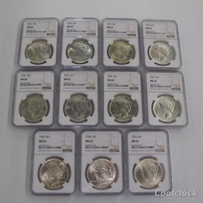 11 Pc Lot 1922 1924 1925 Peace Silver One Dollar $1 Coins NGC Graded MS 63 AD513