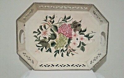 """Old Vtg Hand Painted Metal Serving Tray Toleware Floral pattern 15.5"""" x 18"""""""
