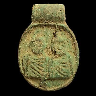 Rare Ancient Roman Bronze Pendant With Two Figures 200-400 AD (NO RESERVE!) (1)