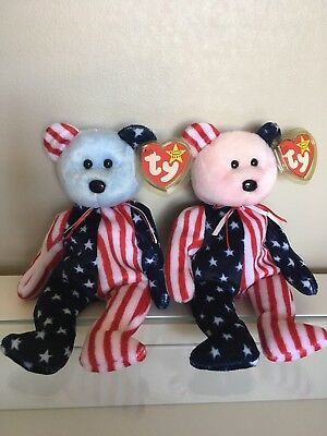 Ty Beanie Babies Spangles Pink And Blue Face Bears
