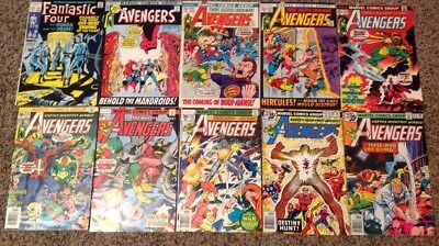Avengers/Fantastic Four Comics Lot Of 10 Bronze Age And Silver Age