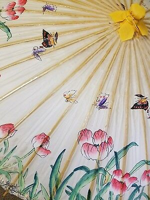 Vintage Oiled Rice Paper Umbrella / Parasol Bamboo Flowers / Butterflies