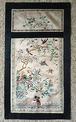 Old Asian Silk Embroidery Panel: Birds, Butterflies, Flowering Trees, Vines
