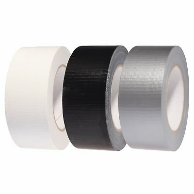 "Duct Gaffa Gaffer Waterproof Cloth Tape Silver Black White 48mm 2"" x 50m"