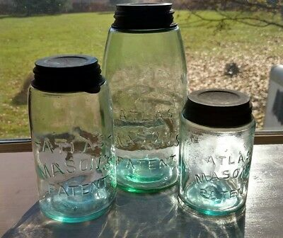 Set three Atlas MASON'S PATENT jars Pint Quart Half Gallon Blue Green Zinc Lids