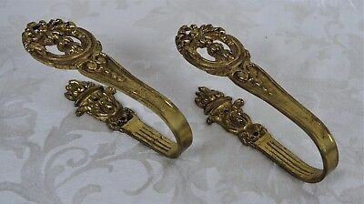 Antique Baroque Style Curtain Tie Backs Cast Brass Strong For Heavy Curtains