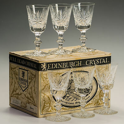 Star of Edinburgh Vintage Crystal Box Set Sherry Glasses Signed Made Scotland