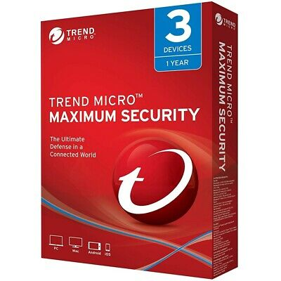 Trend Micro Maximum Security 2018/2019 -1Year 3Device(PC/MAC/ANDR./iOS)-ALL LANG
