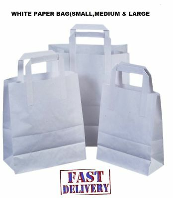 """White Kraft Paper SOS Food Carrier Bags With Handles Party Takeaway 8.5""""x13""""x10"""""""