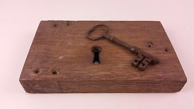 Large Antique British Iron Lock and Key In Working Order FREE UK P&P