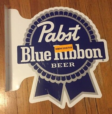"""Pabst Blue Ribbon Beer Double Sided Flanged  Pub Sign Bar Pub Man Cave 22""""x22"""""""