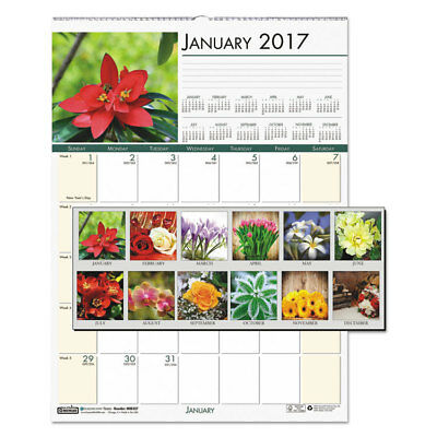 Recycled Floral Monthly Wall Calendar, 12 x 16 1/2, Jan-Dec 2018 (12 Month)
