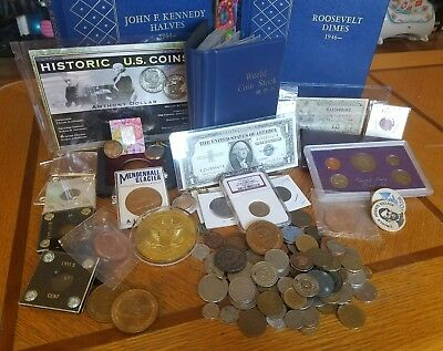 Coin Collector Junk Drawer lot Graded coin and silver