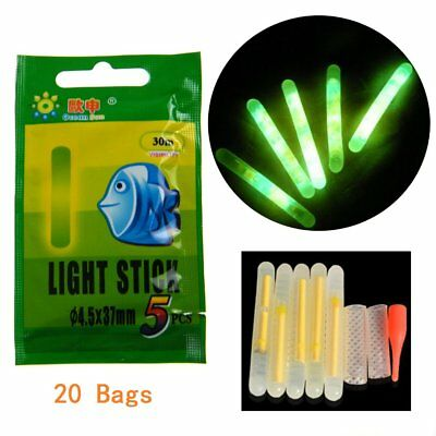 100pcs(20 Bags) 4.5*37mm Fishing Float Glow Stick Fluorescent Night Light Sticks