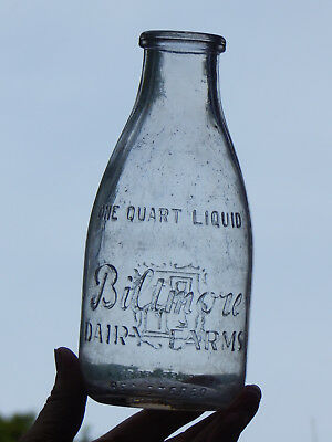 Biltmore Dairy Farms Squat Quart Milk Bottle Asheville, No. Car. N. C.