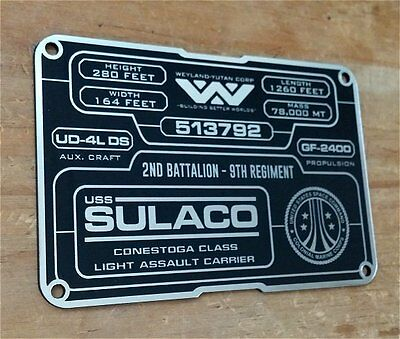 Custom Aliens Uscm Sulaco 513792 Specifications Data Plate Prop Xenomorph