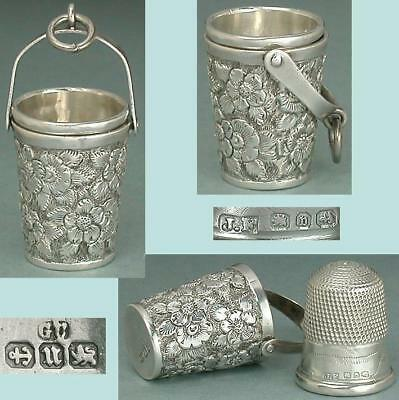 Antique English Sterling Silver Chatelaine Case w/ Thimble * Hallmarked 1894-95