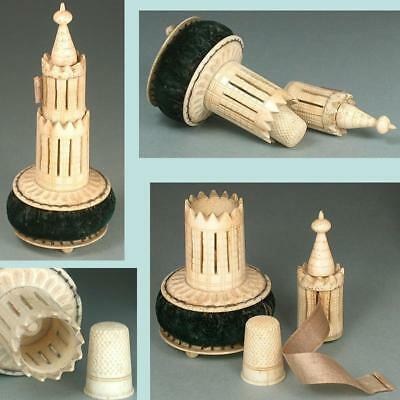 Antique Carved Bone Tape Measure / Pincushion / Thimble Case Combo * Circa 1840