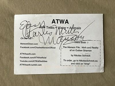 Charles Manson Autograph  with Manson books included.