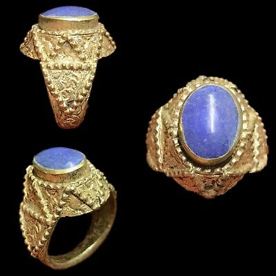 Top Quality Post Medieval Silver Ring With Blue Gemstone- No Reserve!