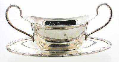 CAMILLE Silverplate International Gravy Boat With Attached Underplate #6013