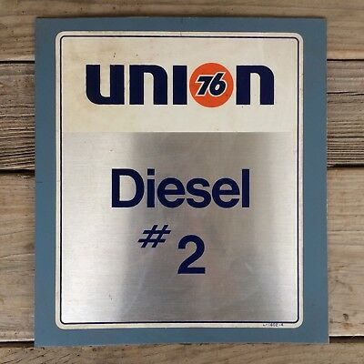 "Vintage Union 76 Diesel # 2 Gas Pump Metal Sign Plate 9.5"" x 10.5"""